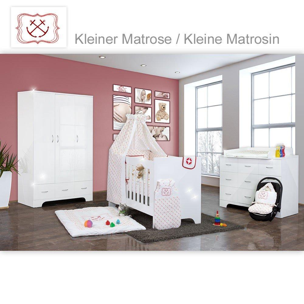 Hochglanz Babyzimmer Memi 21-tlg. mit Textilien von Kleine Matrosin in Rot