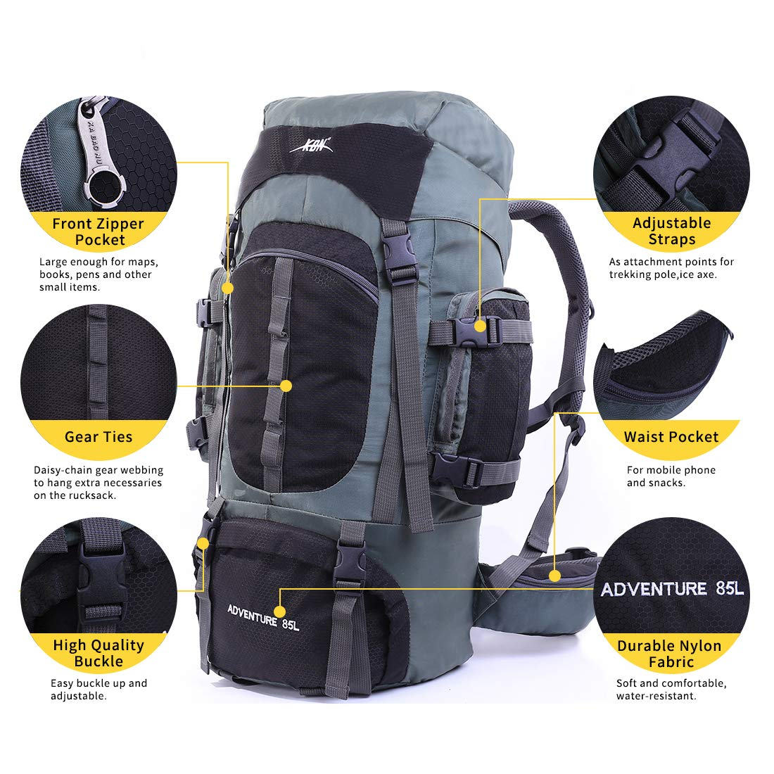 a010c718b110 Mooedcoe Mens Womens Large Capacity 75L Hiking Backpacks Outdoor Camping  Traveling Trekking Pack Backpack with Internal Frame and Rain Cover