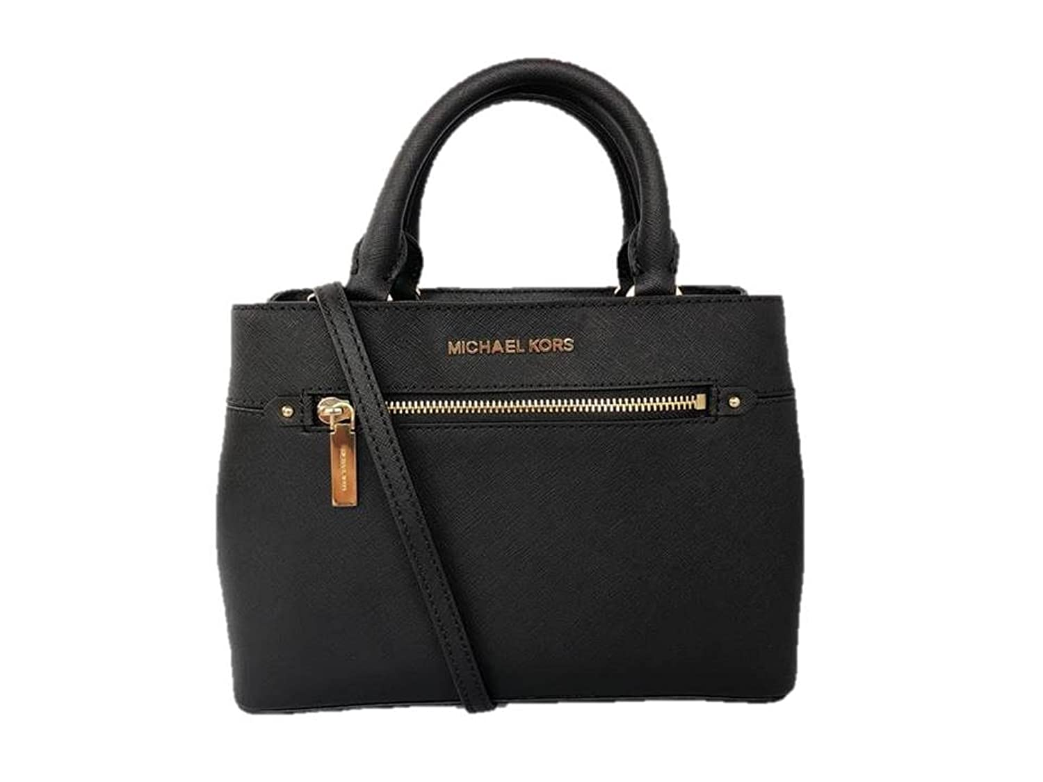 2a667c794ce9c Amazon.com  MICHAEL Michael Kors Women s HAILEE XSMALL Satchel Leather  Handbag BLACK  Clothing