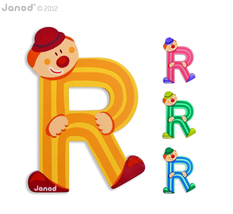 Buchstaben Clown R Janod 04559 farblich sortiert Janod