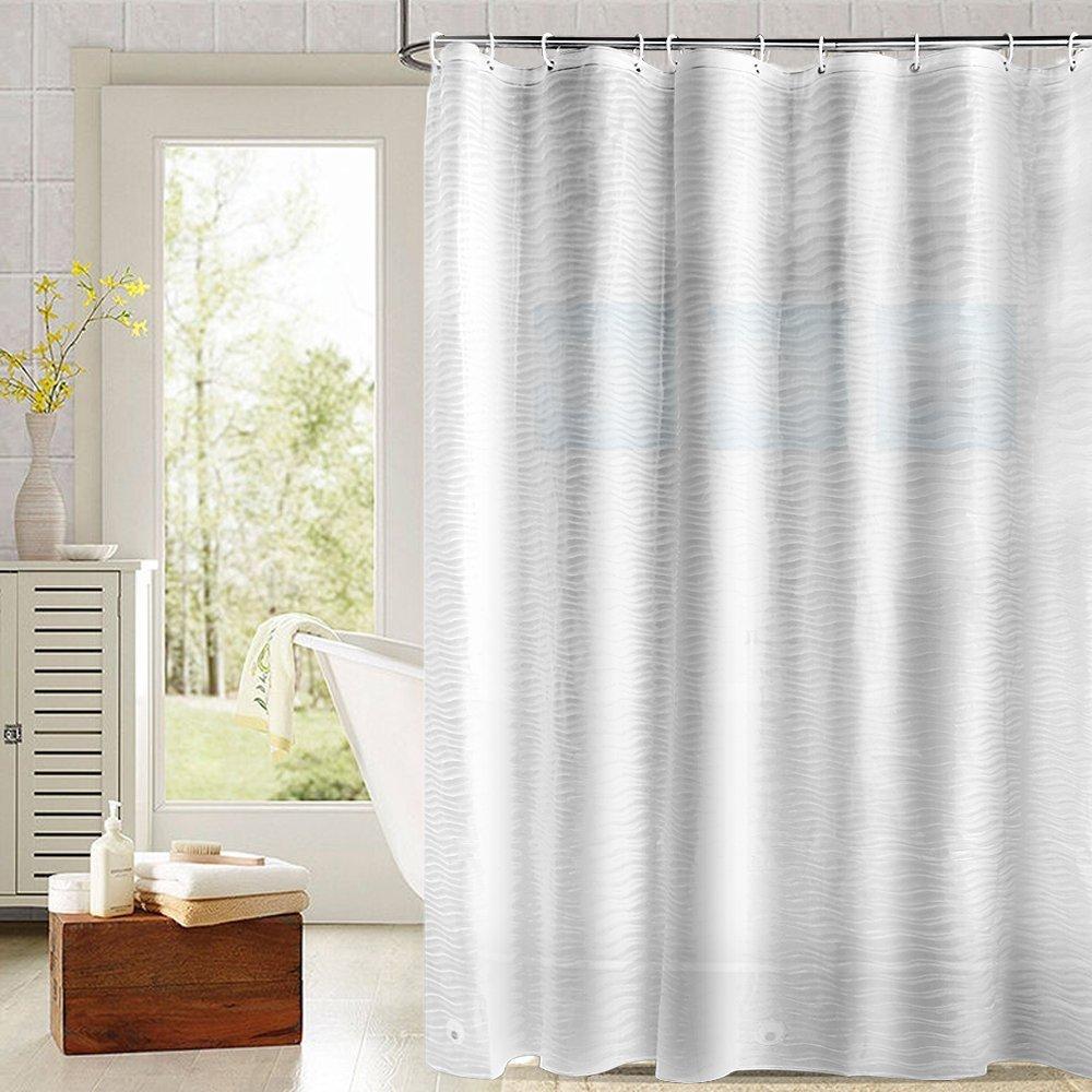 Fivanus Mildew Resistant Anti Bacterial EVA Shower Curtain Liner 72x72 Inch PVC Free Bathroom Curtains Rustproof Grommets Heavy Duty With Hooks P058