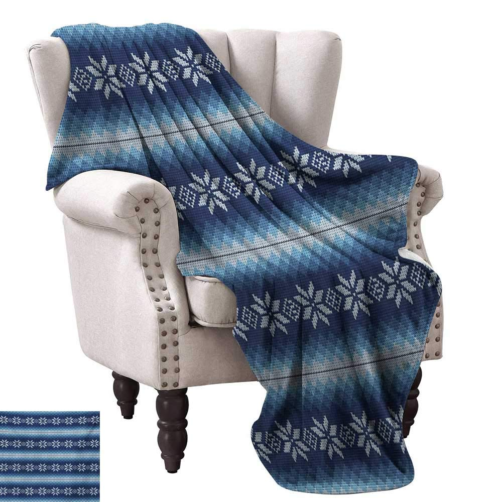 Anyangeight Weave Pattern Extra Long Blanket,Traditional Scandinavian Needlework Inspired Pattern Jacquard Flakes Knitting Theme 70''x50'',Super Soft and Comfortable,Suitable for Sofas,Chairs,beds