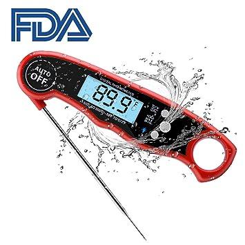 Termómetro Digital Cocina con Pantalla LCD, Apagado Automatico, Lectura Instantánea en 2~4 Segundos,Lectura de La Memoria,Termometro Agua Adecuado ...