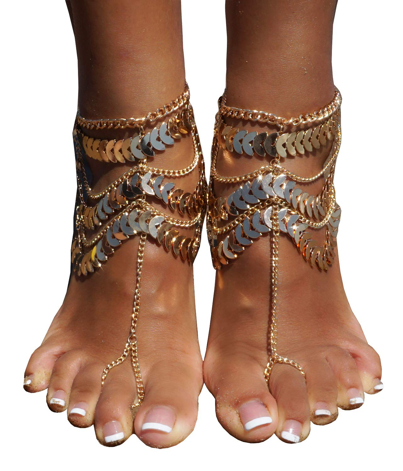 Women's Lady's 2 Piece Golden Multi layer Foot Chain Anklet Barefoot Sandals Beach Foot Jewelry, Gold
