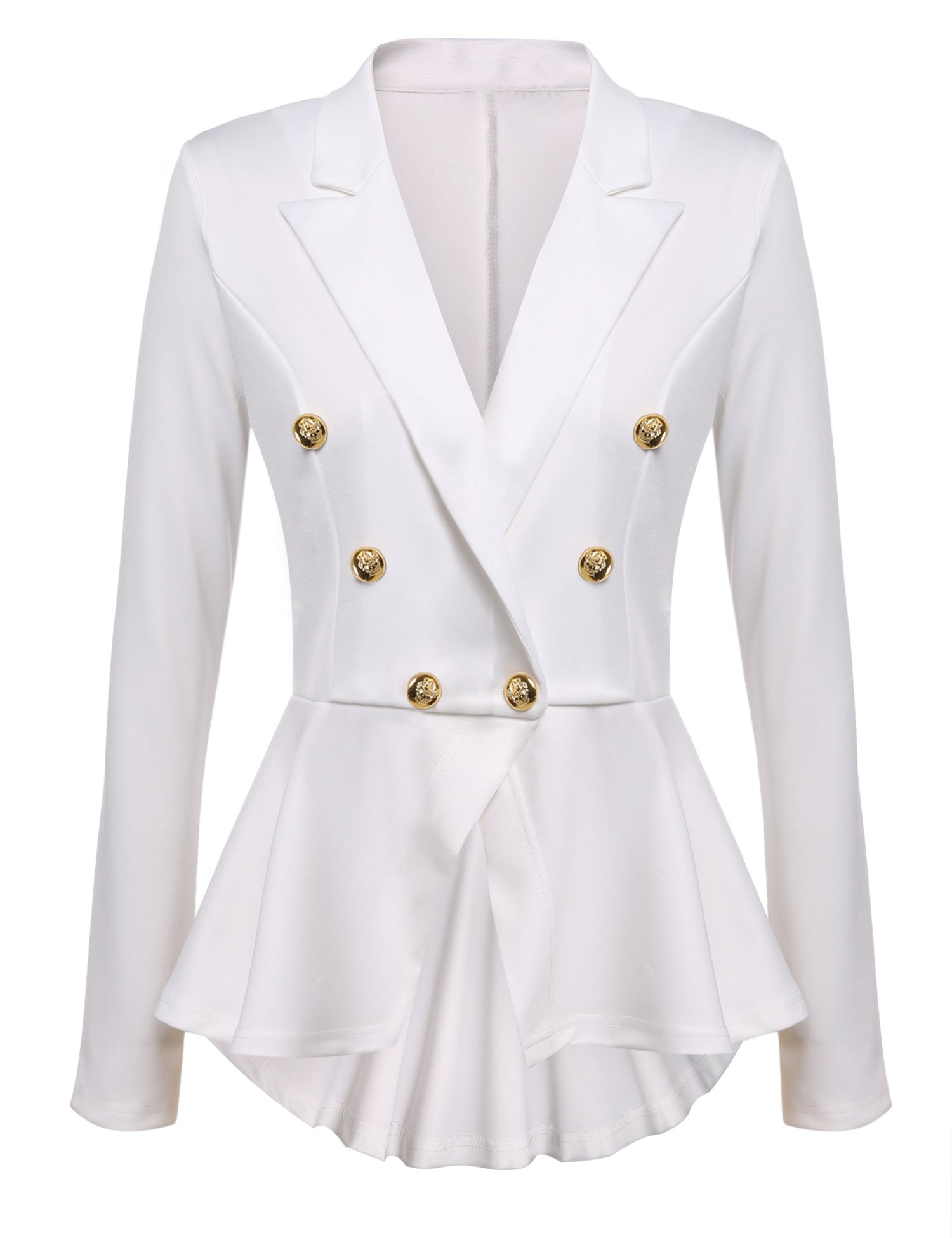 Gumod Women's Casual Work Office Solid Color Open Front Cardigan Blazer Jacket White XL