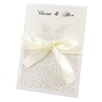 Anladia 10er Ivory Weiss Einladungskarten 18 13cm Elegante