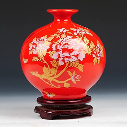 Amazon Wangs Red Gold Peony Pomegranate Vase A Home Kitchen