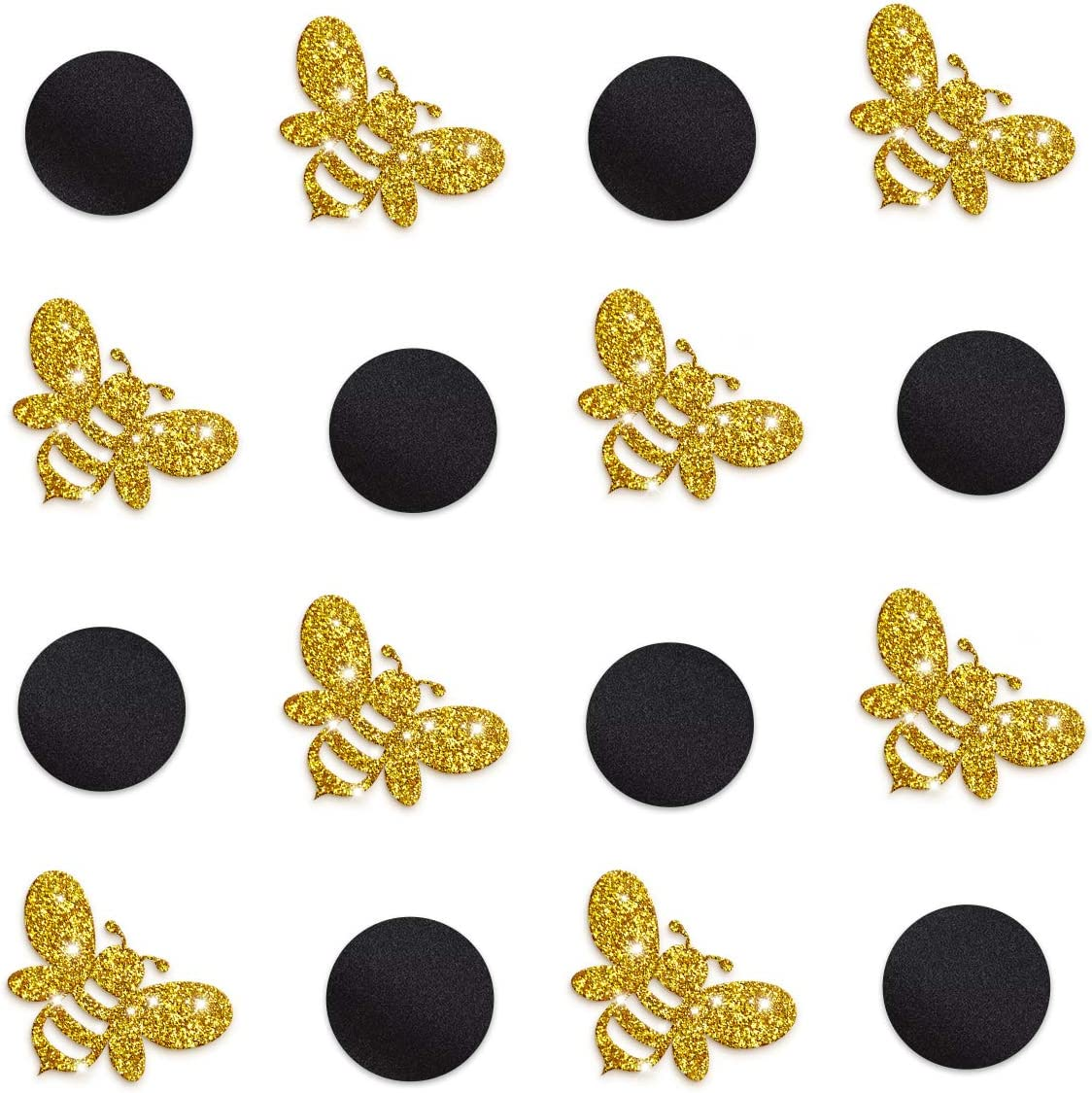 NICROLANDEE Bumble Bee Party Decoration - 100G Gold Glitter Bee Mix Black Circle Table Confetti for Mommy to Bee Gender Reveal Pregnant Baby Shower Birthday Wall Decor
