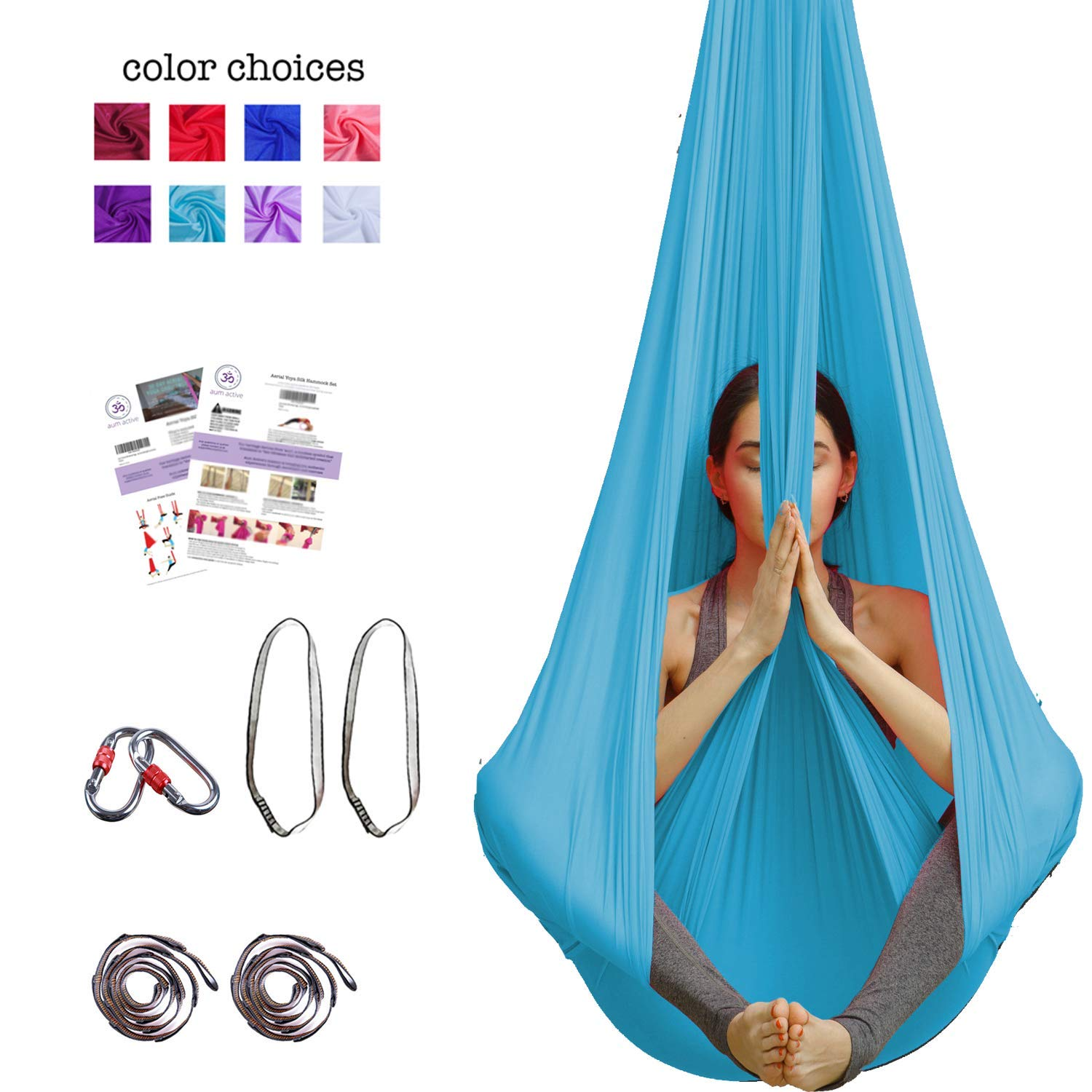 Aerial Yoga Hammock - Premium Aerial Silk Yoga Swing for Antigravity Yoga, Inversion Exercises, Improved Flexibility & Core Strength - Extension Straps, Carabiners and Pose Guide Included (sky blue)