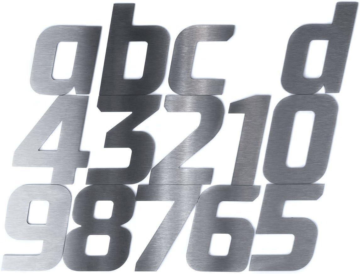 2mm 7 Materialst/ärke 140mm Hochwertige Edelstahl V2A HausnummerFett Kursiv grob geschliffen massiv /& rostfrei H/öhe