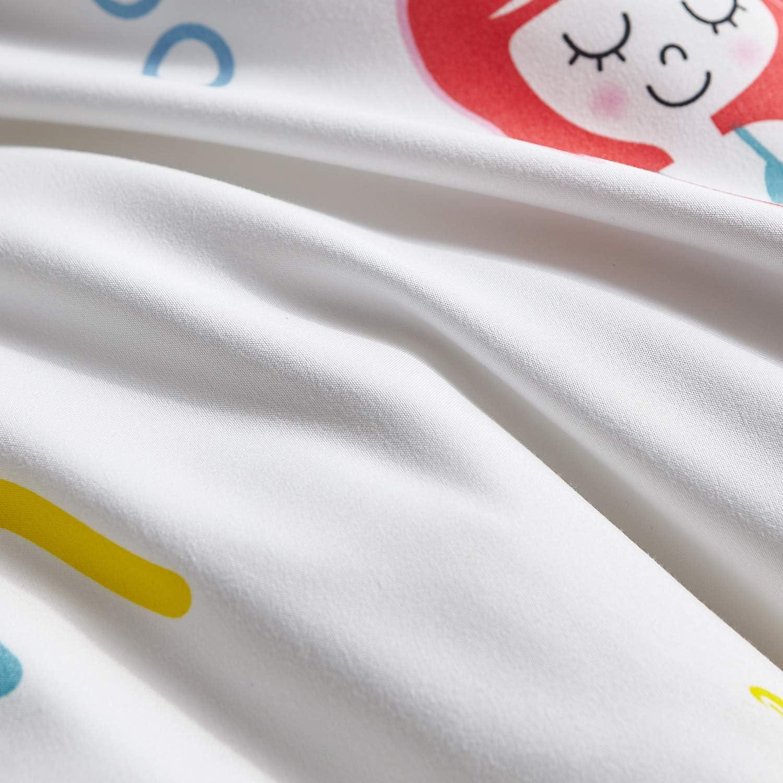 Biancheria da Letto Singolo per Ragazze con Federa Cuscino Colore Fantasia 40x60+5cm Hansleep Parure Copripiumino Bambini Principessa Sriena 2 pz in Microfibra 120x150cm