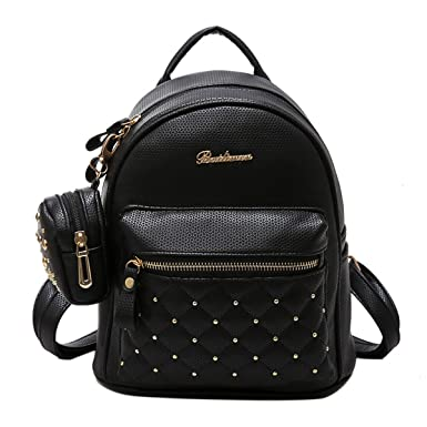 3b496a4530f7 ABage Women s Mini PU Leather Quilted Travel Cute Backpack Purse Handbag  Daypack