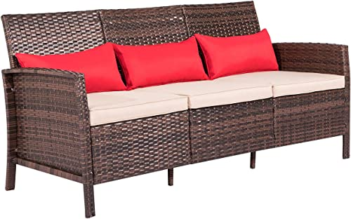 SOLAURA Outdoor Furniture Brown Wicker Patio Sofa Seats 3 PE Rattan Couch