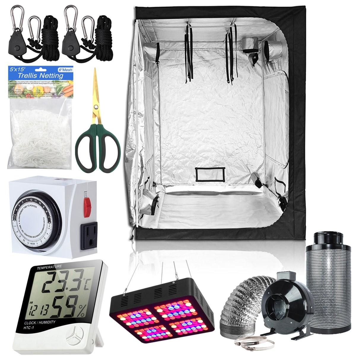 BloomGrow 60''x60''x80'' Grow Tent + 6'' Fan Filter Duct Combo + 600W LED Light + Hangers + Hygrometer + Shears + 24 Hour Timer + Trellis Netting Indoor Grow Tent Complete Kit