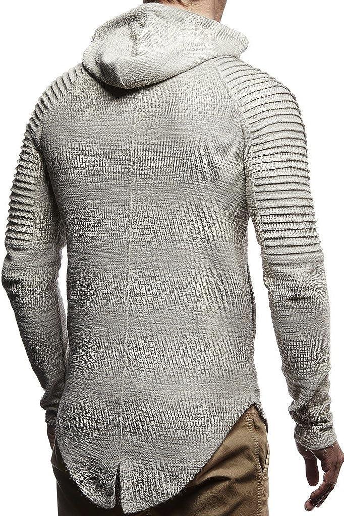 Leif Nelson Men Sweat Jacket Hoodie LN-8149 Grey Medium