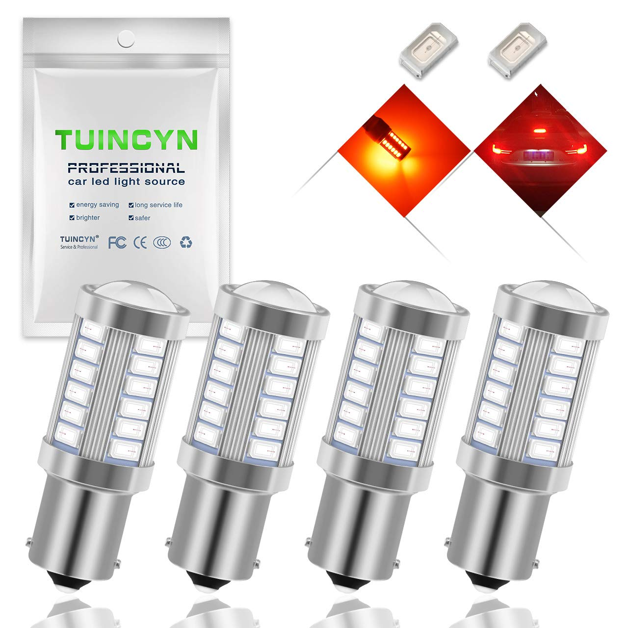 TUINCYN 1156 LED Bulb White Turn Signal Light Bulb Super Bright 8000K 5630 33SMD 1141 1073 7506 Brake Light Back Up Reverse Light Parking Light Side Marker Bulbs RV Light Lamp DC 12V Pack of 2