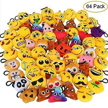 Aiduy 64pcs Mini Emoji Juguete de Peluche, Encantador Llavero Emoticonos para Niños & Adulto, Fiesta Cumpleaños Favores Bolso Partido Decoraciones ...