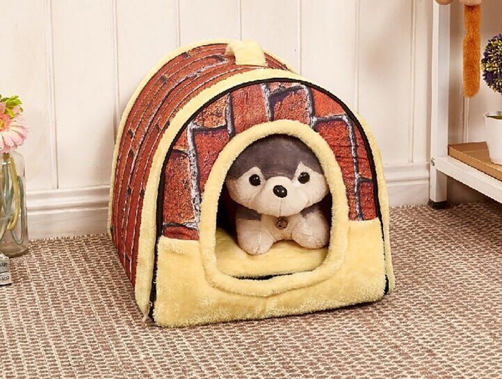 LongYu Pet Nest,Thick Soft Cotton Pet Vintage Wall Tiles Nest Autumn Winter Warm Removable Washable Zipper Waterloo Dog Bed Cat Bed Mat 3 Size (color   Vintage Wall Tiles, Size   S)