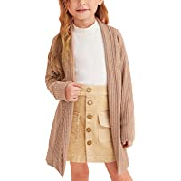 Cutoluca Toddler Baby Girl Knitted Sweater Long Sleeve Cardigan Open Front Coats Fall Winter Kids Solid Long Jacket