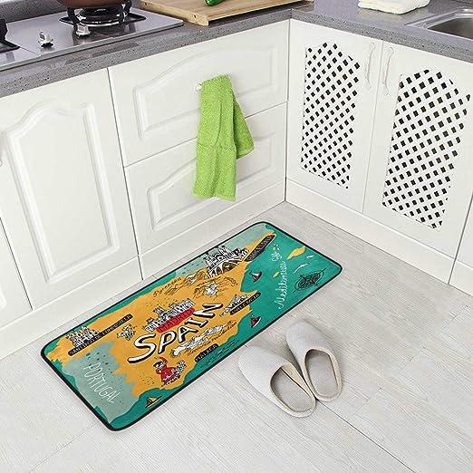 ALINLO - Alfombra de Cocina con diseño de Mapa de España, Antideslizante, cómoda y Acolchada, para decoración del hogar, Interior y Exterior, 99 x 51 cm: Amazon.es: Hogar