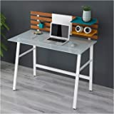 CTF LEROY Computer Desk Writing Desk Home Office Computer Workstation White Glass Top & White Steel Frame