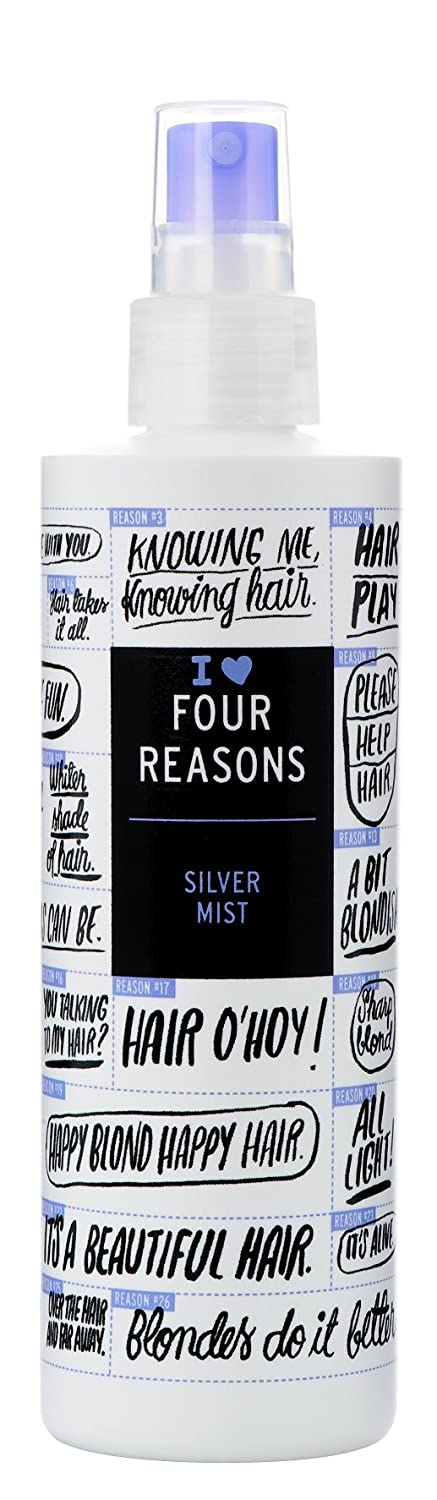 Four Reasons Silver Mist - Silver Leave-In Conditioner Mist Neutralizes Brassy Yellow Tones, 8.5 oz, Vegan