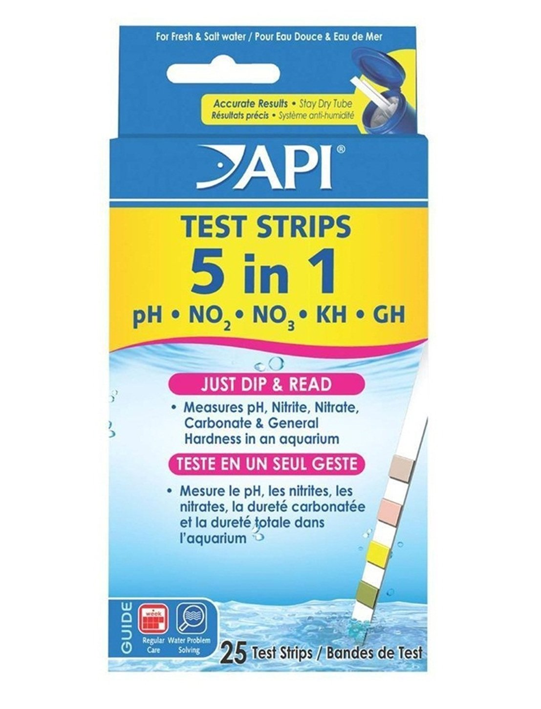 GVGs Shop 25 Ct. 5 in 1 Aquarium Tester Strips Fishcare Tool Freshwater Kit Accurate Results Exceptional Popular Water Kits with Color Chart by GVGs Shop