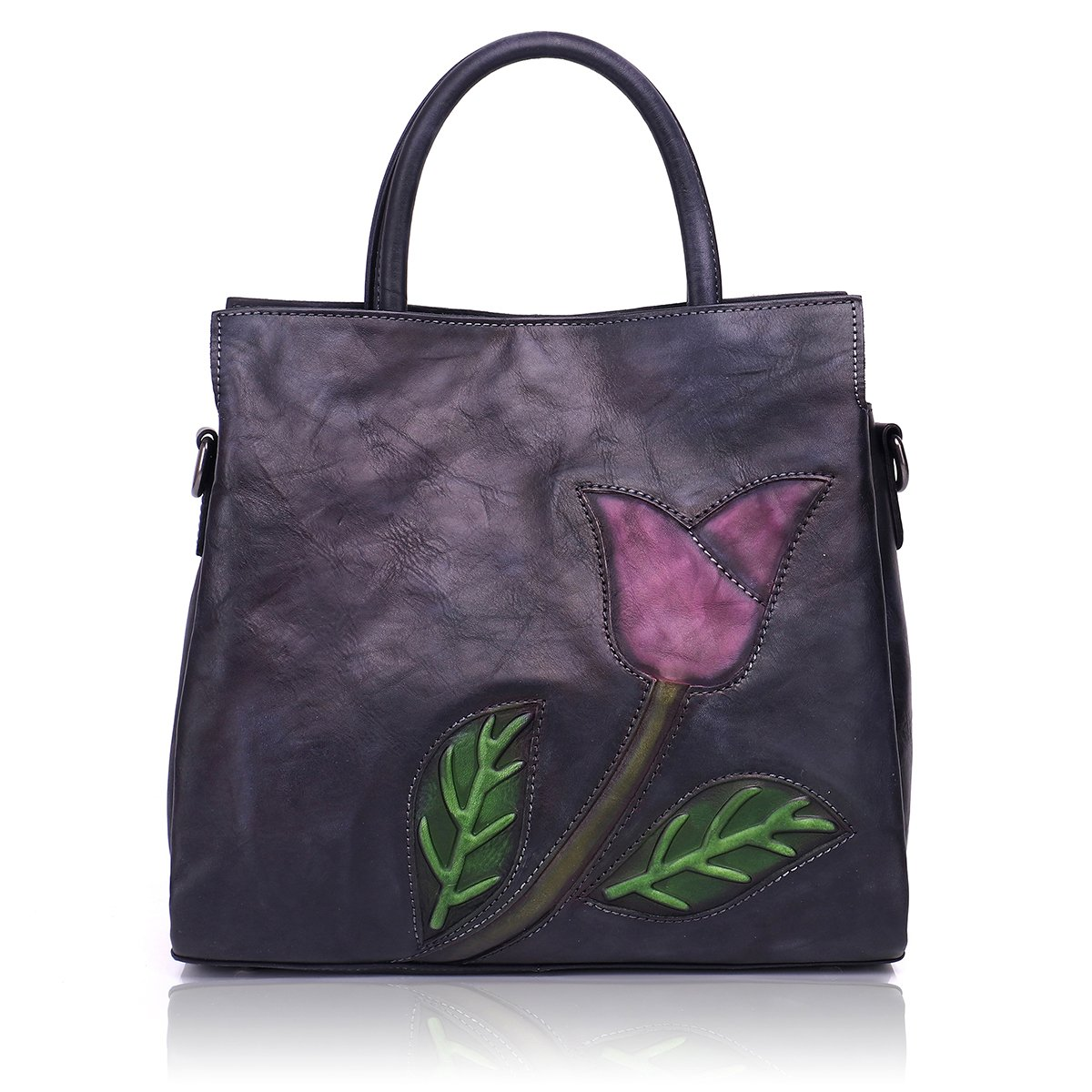Aphison Designer Soft Leather Totes Handbags for Women, Ladies Satchels Shoulder Bags (BLACK)