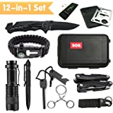 Emergency Survival Kits 12-in-1, JINAGER Outdoor Emergency Gear Kits with Folding Knife, Multi Plier, Flashlight, Survival Bracelet, Tactical Pen, for Traveling/ Hiking/ Biking/ Climbing/ Hunting