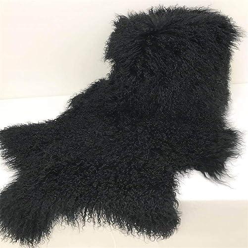 Genuine Tibetan Mongolian Rug, Lamb Sheepskin Curly Fur Pelt Throw Fur Area Rug Carpet Chair Cover with Super Fluffy Thick Decorativeas Throw Rug in Bedroom, Living Room