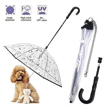 Paraguas de Perro Mascota con Cadena Correa Chubasqueros Transparente Visible Ropa Impermeable de Perrito Plegable para