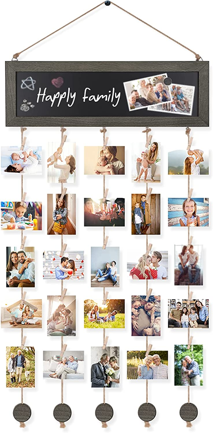 Bikoney Picture Frames Collage Photo Hanging Display Picture Board Wood Rustic Frames for Wall Decor with Blackboard and 30 Clips Mothers Day Gifts Weathered Grey