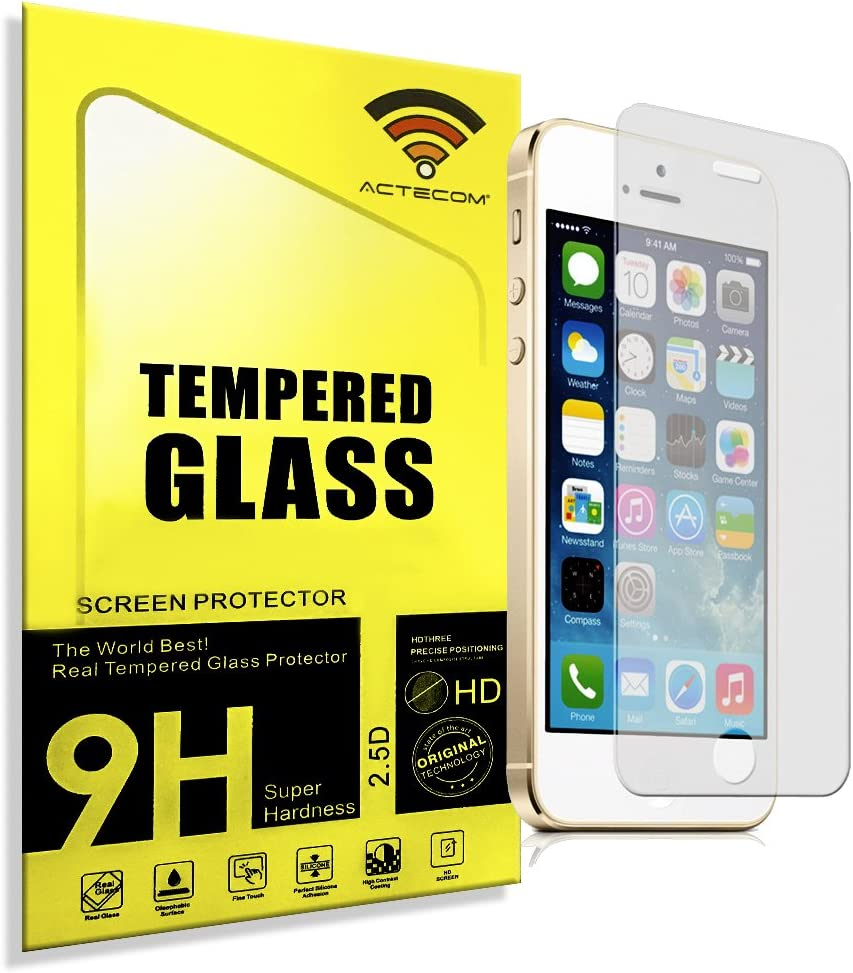 ACTECOM® Protector de pantalla Iphone 5/5S 5C SE de cristal templado