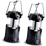 Vont 2 Pack Portable Outdoor LED Camping Lantern Survival Kit for Hurricane, Emergency, Storm, Outages (Black, Collapsible)