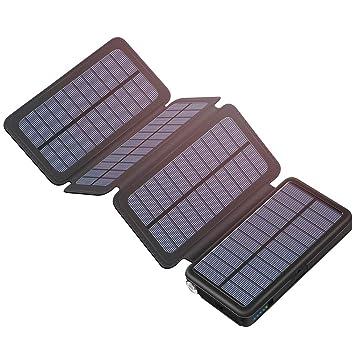 Hiluckey Cargador Solar 25000mAh Portátil Power Bank con 4 Paneles Solar Batería Externa Impermeable para Smartphone, iPhone, iPad, Samsung, Laptop, ...