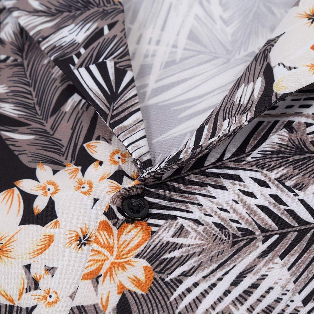 Kuulee Funky Hawaiian Shirt Men Short Sleeve Hawaiian-Print Beach Shirt