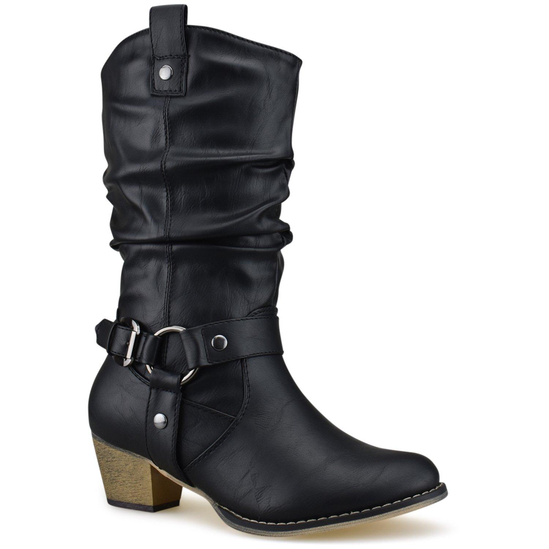 Premier Standard Women's Western Cowboy Pointed Toe Knee High Pull On Tabs Boots, TPS Wild-02 Black Size 8.5 by Premier Standard