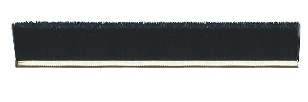 "Tanis Brush MB702636 5/16"" Stainless Steel Backed Strip Brush with Crimped Black Nylon Bristles, 0.014"" Bristle Diameter, 3"" Trim Length, 36"" Overall Length"