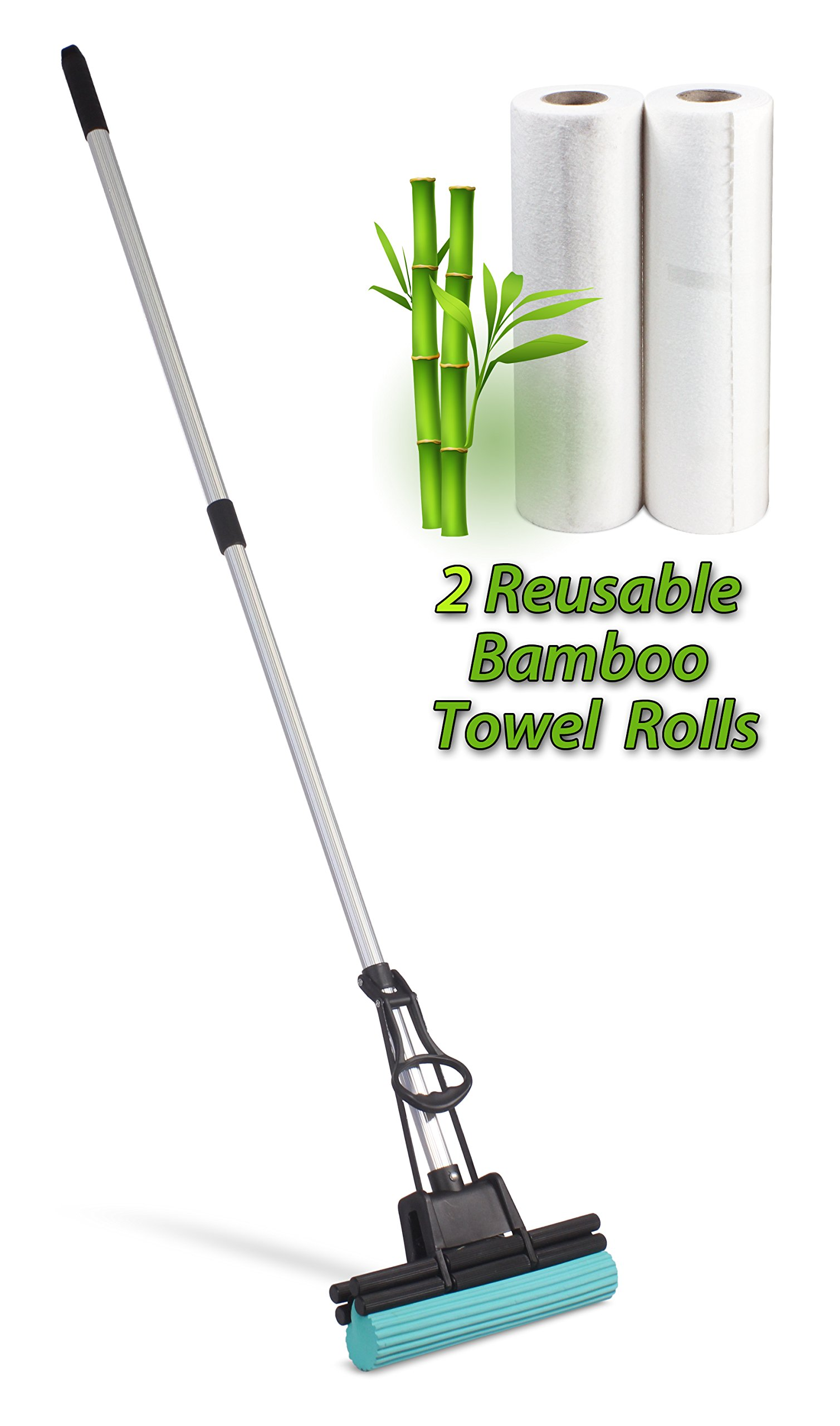 PVA Professional Double Roller Ultra Foam Rubber Mop Cleaning Kit (PVA Mop - 2 Rolls Bamboo Towels)