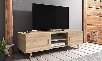 Rivano 2 Mueble TV Moderno Mesa para TV 140 cm Marrn Claro