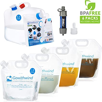 BPA Free Water Storage Bag for Outdoors Hiking /& Emergency Survival Hurricane Flood Earthquake Foldable Portable Canteen FDA Camping Water Jug Renewed Gowithwind Collapsible Water Container with Spigot