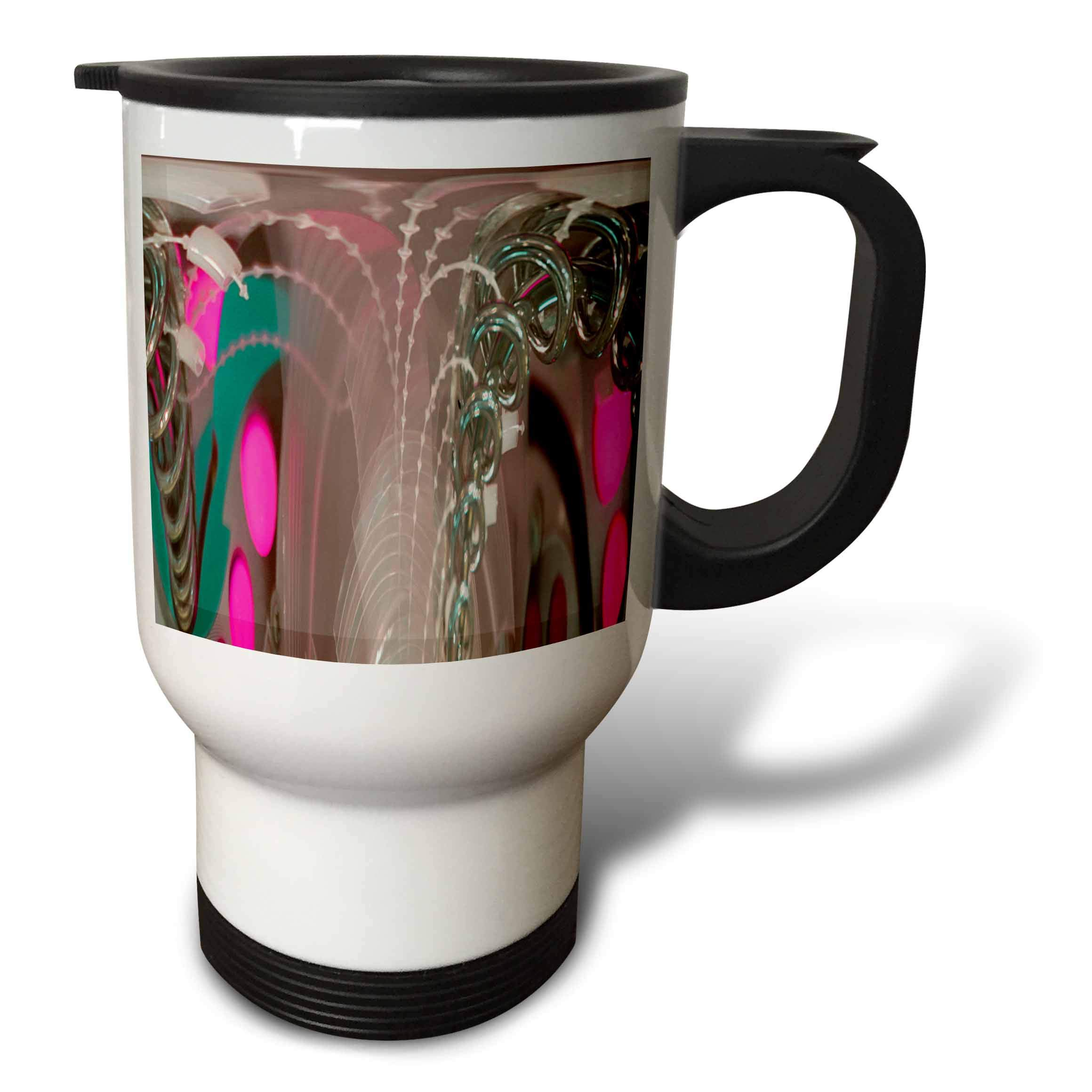 3dRose Jos Fauxtographee- Polar to Rectangular Metal - A metal game at a restaurant with pink and green hues made modern - 14oz Stainless Steel Travel Mug (tm_288895_1)