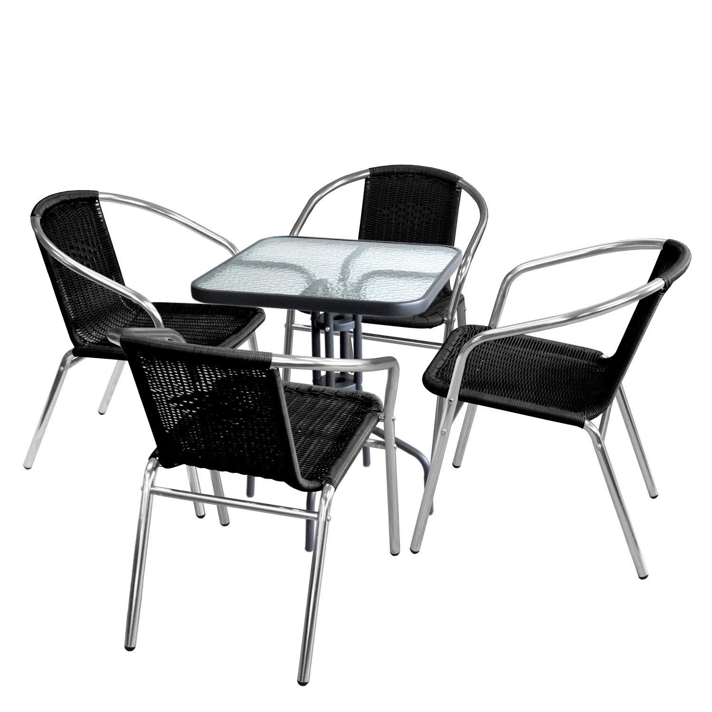 Wohaga 5tlg. Sitzgruppe Glastisch 60x60cm quadratisch + 4X Bistrostuhl, stapelbar, Polyrattanbespannung Schwarz