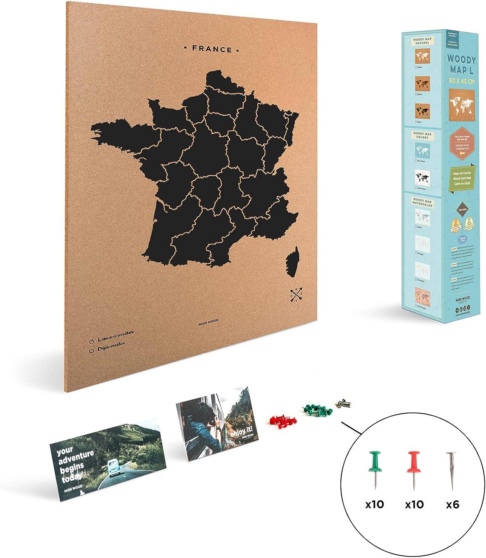 Miss Wood Mapa de Francia Estampado con Serigrafía sobre Corcho ...