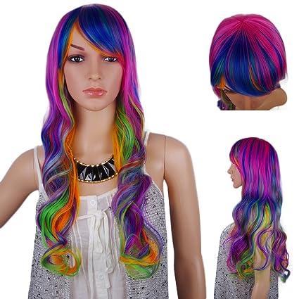 Spretty Coloridos de alta calidad sintética peluca largo rizado ondulado arco iris de color para el