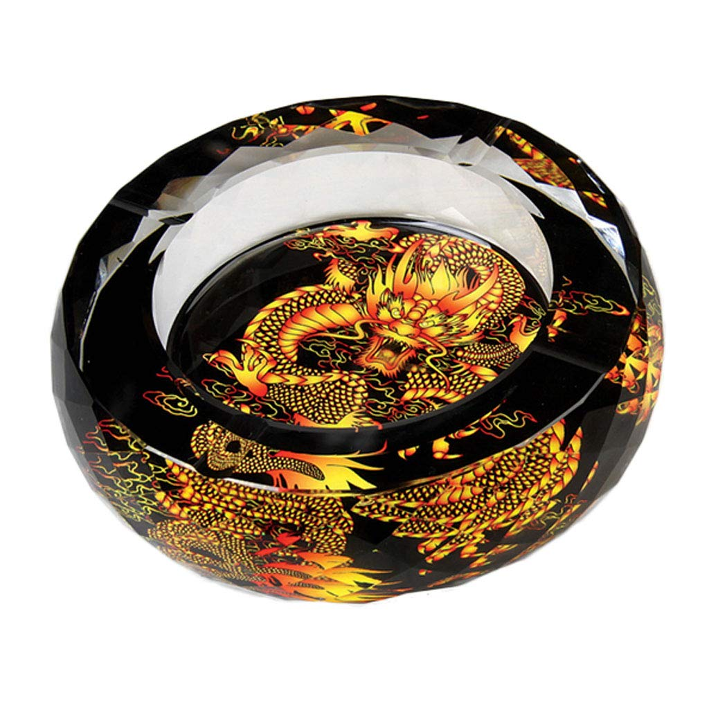 ZDD European Crystal Glass Ashtray/Creative Personality Home Practical Ashtray/Decorative Ornaments Gift six Optional (ø20cm H5cm) (Color : Chinese True Dragon)