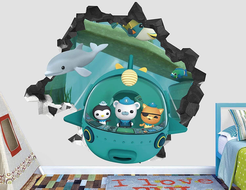 "Octonauts Submarine Wall Decal Sticker - Kids Wall Decal Decor - Art 3D Vinyl Wall Decal - AH96 (Small (Wide 22"" x 16"" Height))"