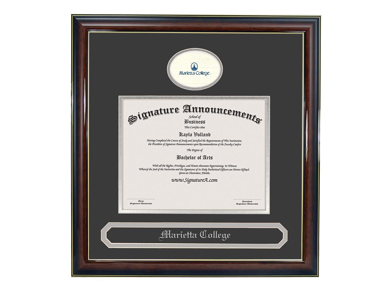 Professional//Doctor Sculpted Foil Seal /& Name Graduation Diploma Frame 16 x 16 Gold Accent Gloss Mahogany Signature Announcements Marietta-College Undergraduate