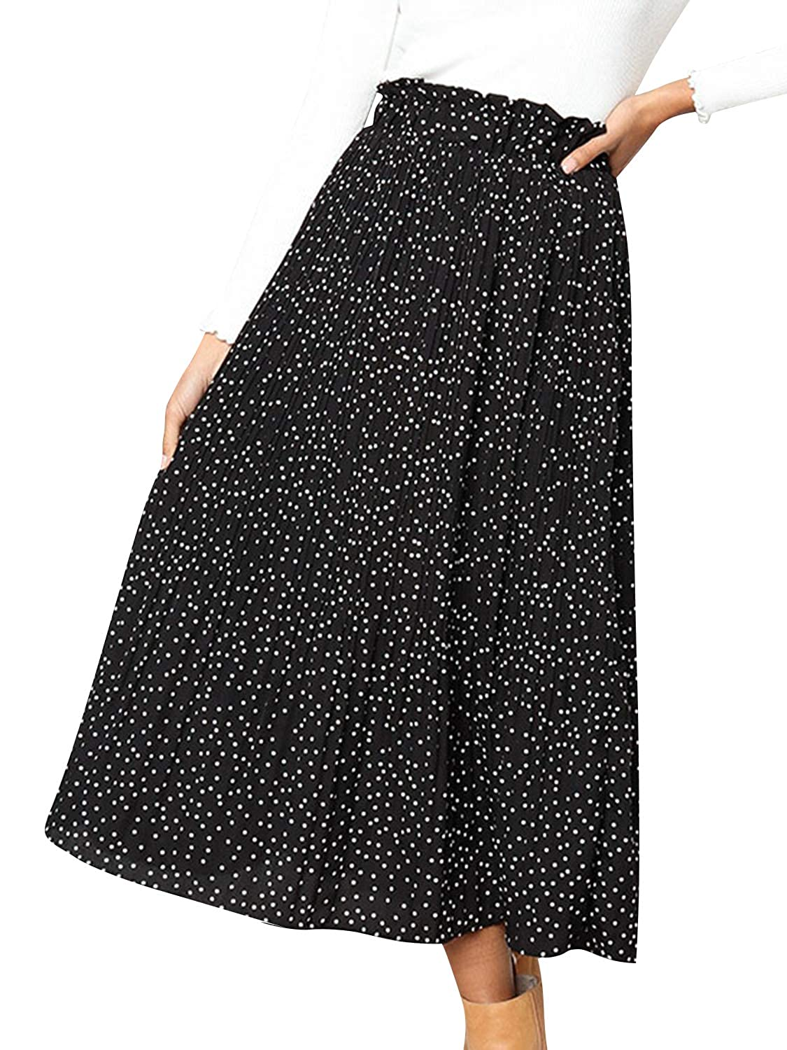 0d6059158 Miessial Women's Chiffon High Waist Pleated Midi Skirts Boho Floral Print  Skirt at Amazon Women's Clothing store: