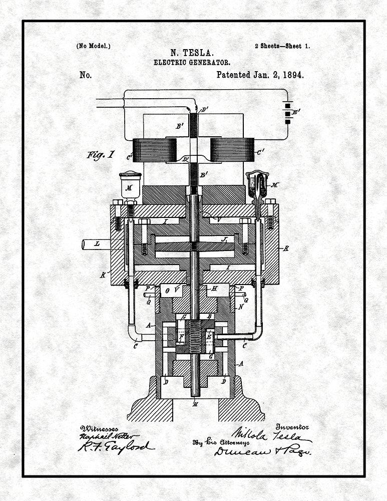 Amazon com: Tesla Electric Generator Patent Print Art Poster